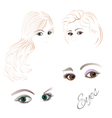 Females eyes brown and green vector image