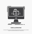 3d cube dimensional modelling sketch icon glyph vector image vector image