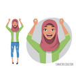 arab women character is happy and smiling muslim