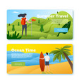 banners - girl hiking man with surfboard vector image vector image