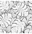 black and white tropical leaves seamless pattern vector image