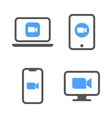 blue camera icons - live media streaming vector image vector image
