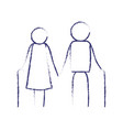 blurred blue contour of pictogram elderly couple vector image