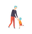 boy and his dad dancing holding hands son having vector image