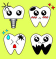 cartoon sick tooth decay and destroy tooth vector image
