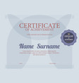 classic blue blank certified border template vector image vector image