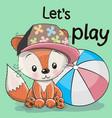 cute fox with a ball vector image