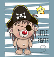 cute hedgehog in a pirate hat vector image vector image