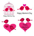 cute valentines day birds with hearts vector image vector image