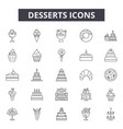 desserts line icons signs set linear vector image