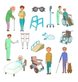 Disability people care icons set cartoon style vector image vector image