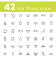 fitness workout gym icons pack linear vector image vector image