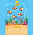 five underwater fish worksheet vector image vector image
