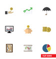 flat icon incoming set of growth parasol counter vector image vector image