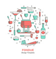 Fondue icons in the form of a circle vector image vector image