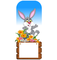 funny rabbit cartoon posing with blank board vector image vector image