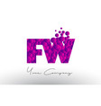 fw f w dots letter logo with purple bubbles vector image