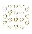 Gold gradient foil hearts set Valentine day love vector image