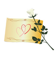 greeting with white rose vector image vector image