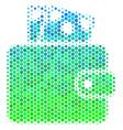 halftone blue-green wallet icon vector image vector image