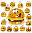hamburger cartoon with many expressions vector image