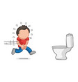 hand-drawn cartoon of man running to pee on vector image vector image
