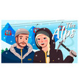 happy in love couple travel to alps stand vector image vector image