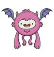 happy purple flying cartoon bat monster vector image vector image