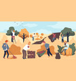 harvesting season at farm farming people working vector image vector image