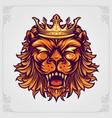 head crown lion logo with ornaments vector image vector image