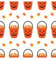jack o lantern basket full candy corns pattern vector image vector image