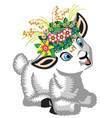 lamb wearing a wreath flowers vector image vector image