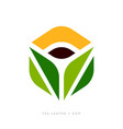 logo template or icon of green tea leaves and cup vector image vector image