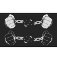 Male hands breaking steel handcuffs Chalk vector image vector image