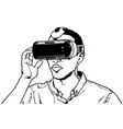 man wearing virtual reality headset vector image vector image