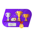 medal cup reward and letter standing on shelves vector image vector image