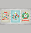 merry christmas set greeting card collections vector image vector image