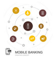 mobile banking colored circle concept with simple vector image vector image