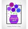 Mothers Day background with pot of flowers vector image vector image