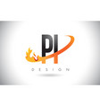 pi p i letter logo with fire flames design and vector image vector image