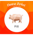 pig chinese zodiac animals low poly logo icon vector image vector image