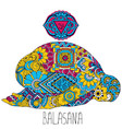 pose in yoga of balasana vector image vector image