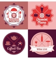 Restaurant menu emblem set color vector image vector image