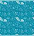 seamless pattern with umbrellas on blue background vector image