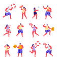 set flat people lifeguards on beach vector image