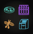 set genome sequencing concept neon icons vector image vector image
