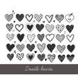 set hand drawn doodle sketch hearts vector image