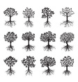 set of black trees vector image vector image