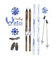 set vintage ski equipment vector image
