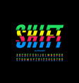 shifted style modern colorful font vector image vector image